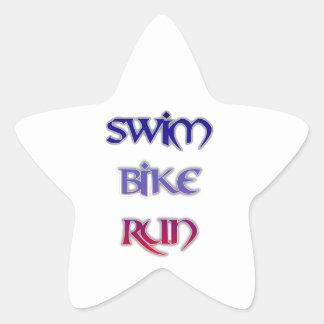 Triathlon-Schwimmen-Fahrrad-Lauf Stern-Aufkleber