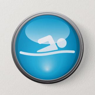 Triathlon SCHWIMMEN Rennen-Tagesknopf Runder Button 7,6 Cm