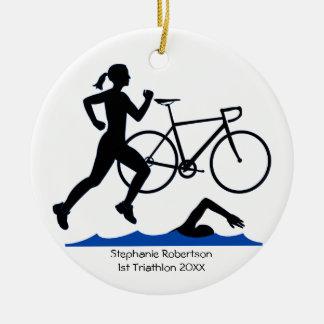 Triathlon-weibliches Andenken im Blau Rundes Keramik Ornament