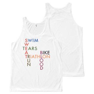 Triathlonblutschweiß und -risse komplett bedrucktes tanktop