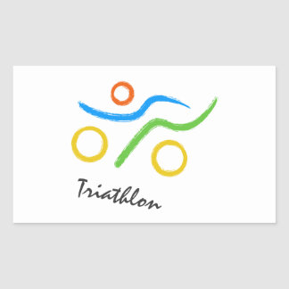 Triathlonlogo Rechteckiger Aufkleber