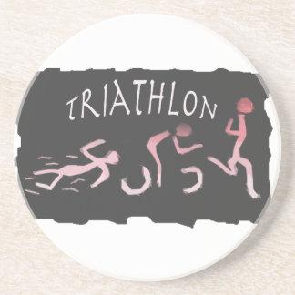 Triathlonswim-Fahrrad Laufabstraktes im Schwarzen Getränkeuntersetzer