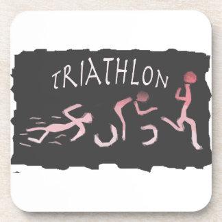 Triathlonswim-Fahrrad Laufabstraktes im Schwarzen Untersetzer