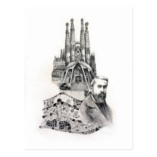 Tribut zu Gaudi. Postkarte