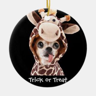 Trick-oder Leckerei-Halloweenchihuahua-Verzierung Keramik Ornament