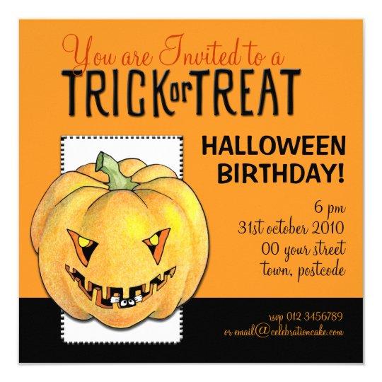 trick-oder leckerei-kürbis-halloween-geburtstag quadratische 13,3, Kreative einladungen