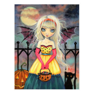 Trick-oder Leckerei-niedlicher HalloweenVampire un Postkarte