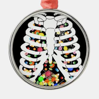 Trick oder Leckerei Rundes Silberfarbenes Ornament