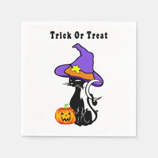 Trick-oder Leckerei-schwarze Katze Serviette