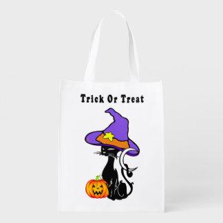 Trick-oder Leckerei-schwarze Katze Wiederverwendbare Einkaufstasche