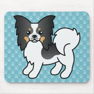 Tricolor Papillon Zucht-Cartoon-Hund Mauspad