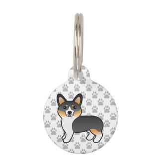 Tricolor WaliserCorgipembroke-Zucht-Hund u. Info Haustiermarke