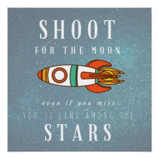 Trieb für das Mond-Land unter dem Stern-Raum Poster