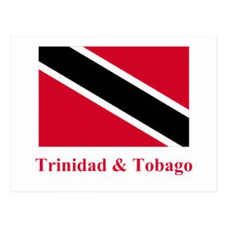 Trinidad und Tobago-Flagge mit Namen Postkarte