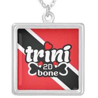 Trinidad und Tobago-Flaggen-Halskette Versilberte Kette