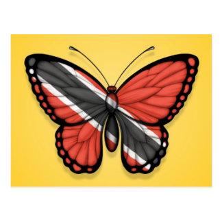 Trinidad und Tobago-Schmetterlings-Flagge auf Gelb Postkarte