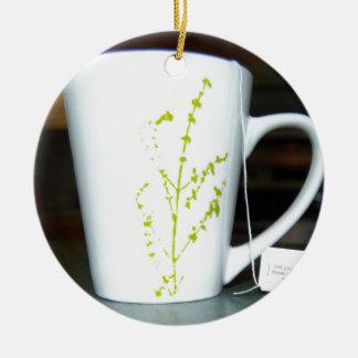 Trinken Sie einen Schale O Tee! Rundes Keramik Ornament