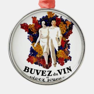 Trinken Sie Wein und genießen Sie das Leben Silbernes Ornament