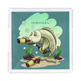 Trinkende Fisch-Name-Serviertablette Acryl Tablett