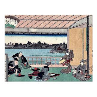 Trinkendes Party am Restaurant durch Andō, Postkarte