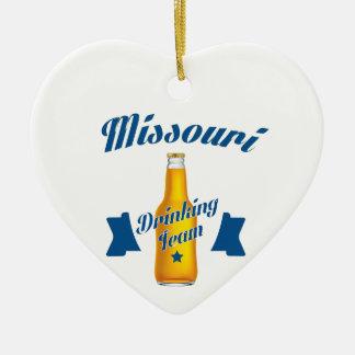 Trinkendes Team Missouris Keramik Herz-Ornament