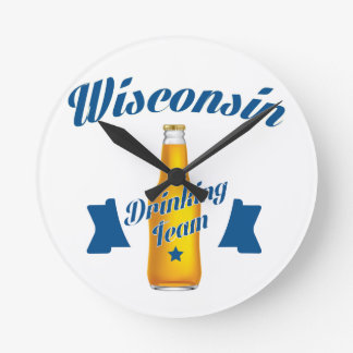 Trinkendes Team Wyomings Runde Wanduhr
