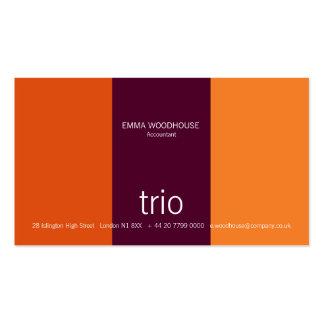 Trio Burgunder u. heftig Orange Visitenkarten Vorlage