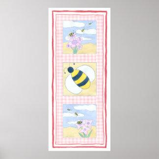 Trio der Bienen mit Blumen Poster