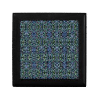 Trippy blaues Grün-Steppdecke geometrisch Erinnerungskiste