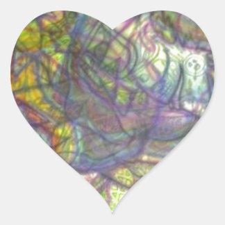 Trippy farbige Bleistift-Haut Herz-Aufkleber