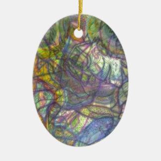 Trippy farbige Bleistift-Haut Ovales Keramik Ornament