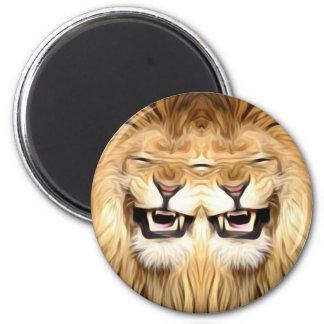 Trippy glücklicher Löwe Runder Magnet 5,1 Cm