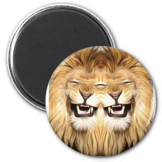 Trippy glücklicher Löwe Runder Magnet 5,7 Cm