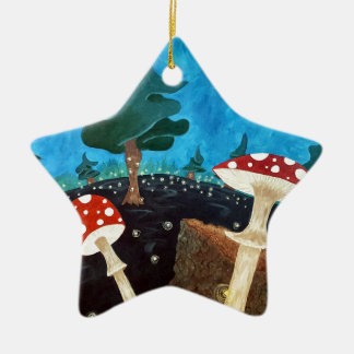 trippy Nacht im Holz Keramik Ornament