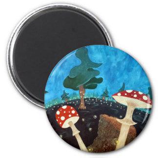 trippy Nacht im Holz Runder Magnet 5,7 Cm