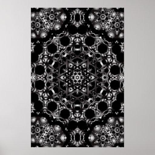 Trippy Plakat: Psychedelische Kaleidoskop-Grafik
