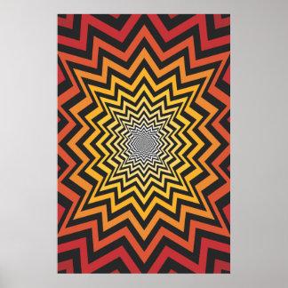 Trippy Plakat Psychedelische Radialgrafik