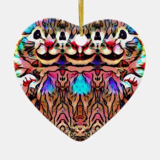 Trippy Rave-Ratte Keramik Herz-Ornament