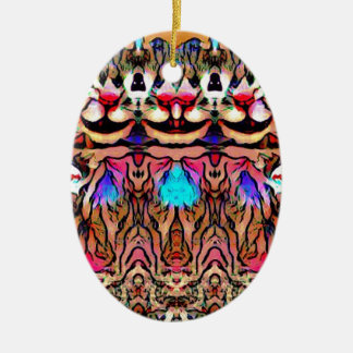 Trippy Rave-Ratte Ovales Keramik Ornament