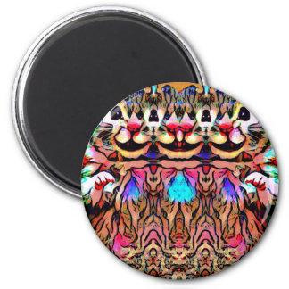 Trippy Rave-Ratte Runder Magnet 5,7 Cm