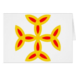Triquetra Kreuz im goldenen gelb-orangeen Rot Karte