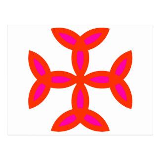 Triquetra Kreuz im hellen glühenden Rosa Postkarte