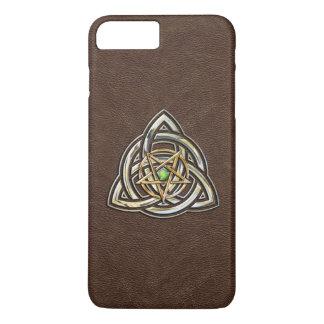 Triquetra Pentagram auf Brown iPhone 8 Plus/7 Plus Hülle