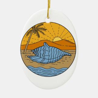 Tritonshorn-Muschel auf Keramik Ornament