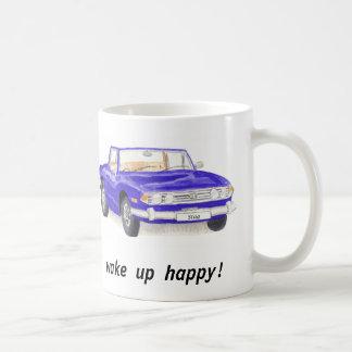 """Triumph-Hirsch, klassisches blaues Auto """"wachen Kaffeetasse"""