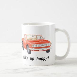 """Triumph-Hirsch, klassisches rotes Auto """"wachen Kaffeetasse"""