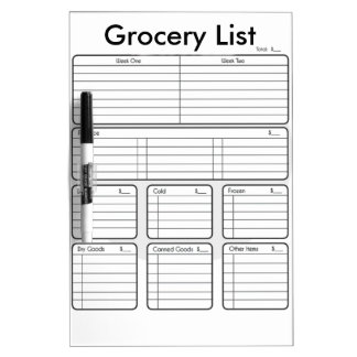 Trocken-Löschen Lebensmittelgeschäft-Liste Trockenlöschtafel