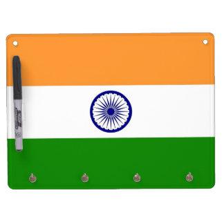 Trocknen Sie Löschen-Brett mit Flagge von Indien Trockenlöschtafel Mit Schlüsselanhängern