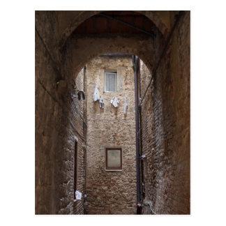 Trocknende Wäscherei in Toskana-Postkarte Postkarte