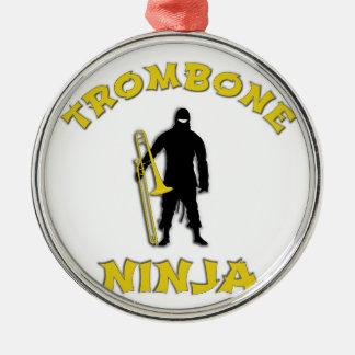 Trombone Ninja Silbernes Ornament